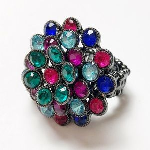 Flower Peacock Color Bling Expandable Ring